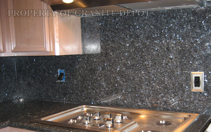 Blue Pearl granite with full granite slab back splash and stainless steel appliance