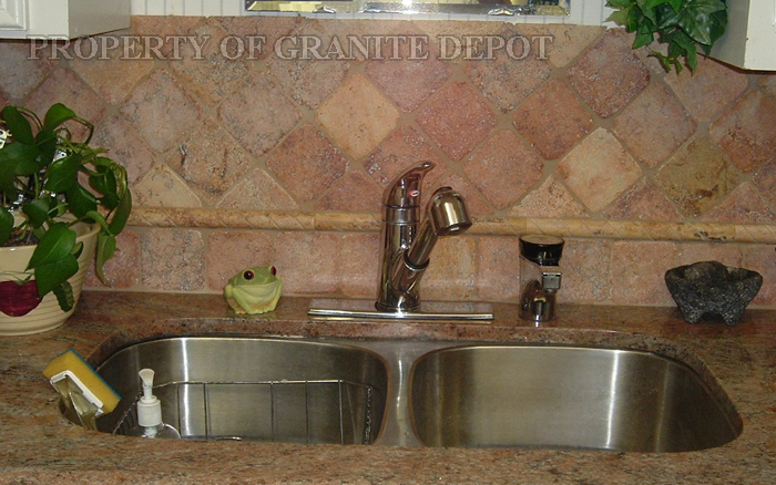 Granite Rose Wood, back splash Travertine
