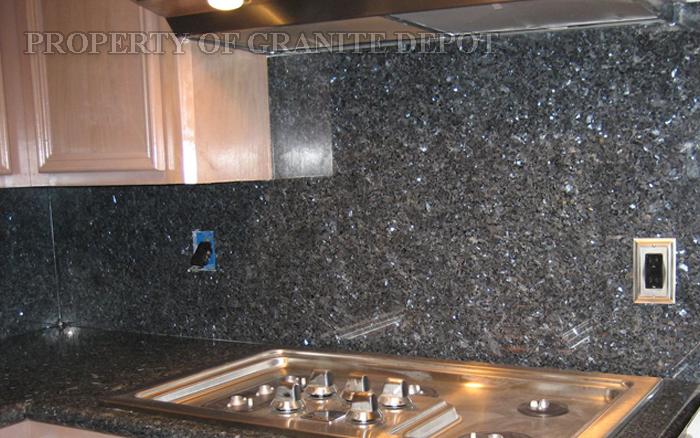 Blue Pearl granite with full granite slab back splash and stainless steel appliance